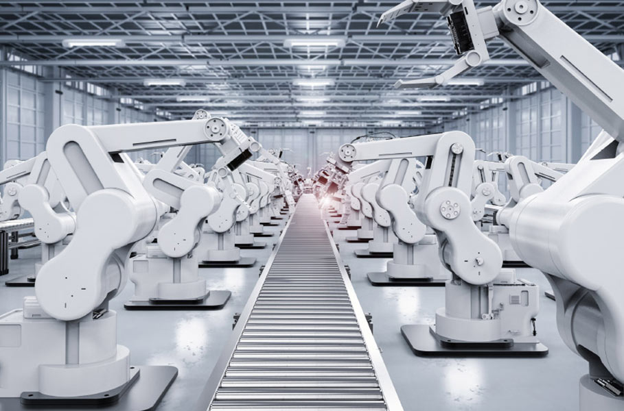 machines at the conveyor belt