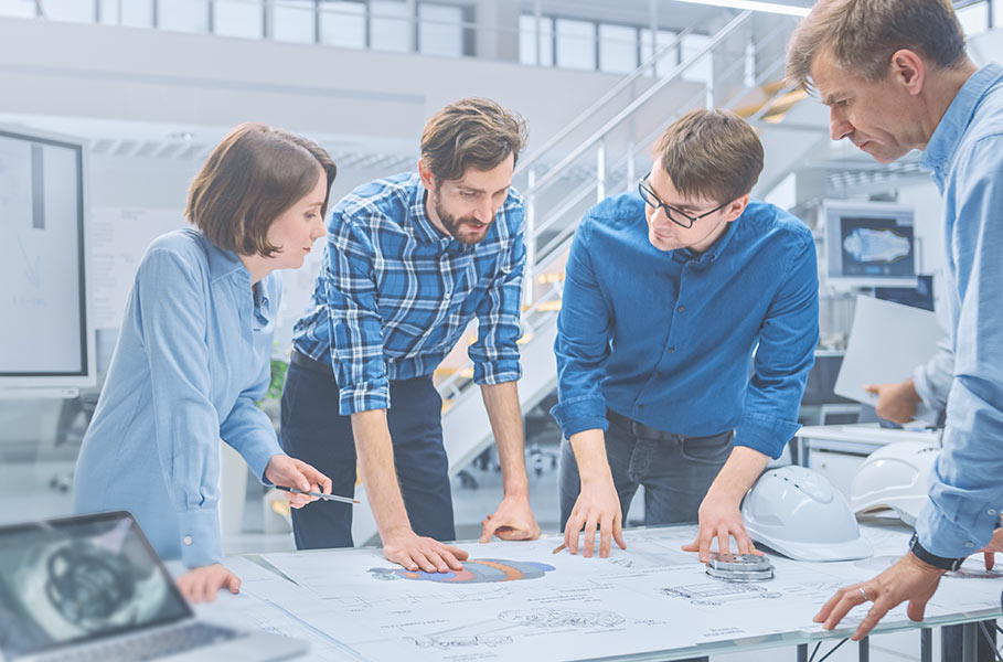 employees work together on a project and think about it