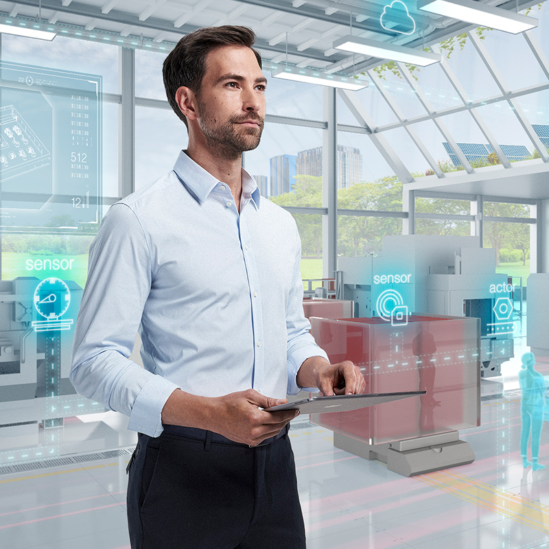 Key Visual: employee at a smart factory/technological factory