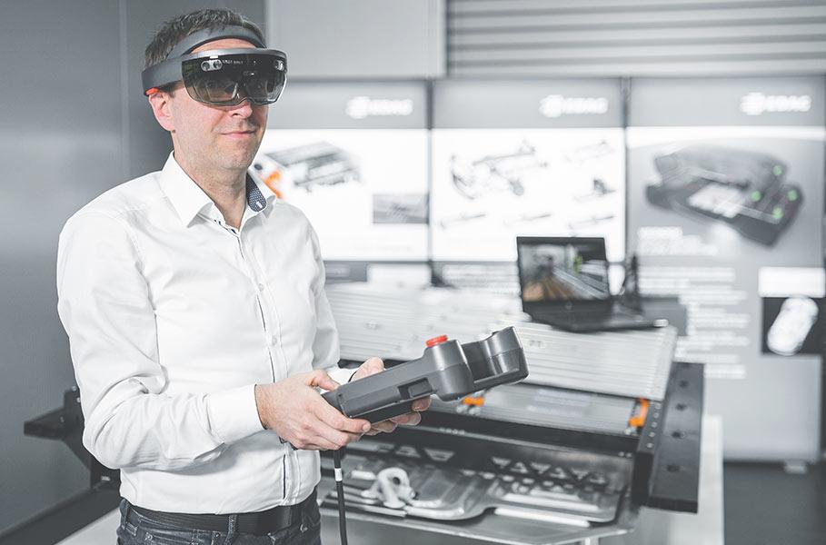 employee testing VR glasses